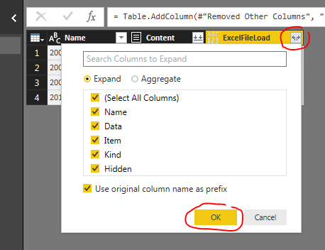 Expand Column Button