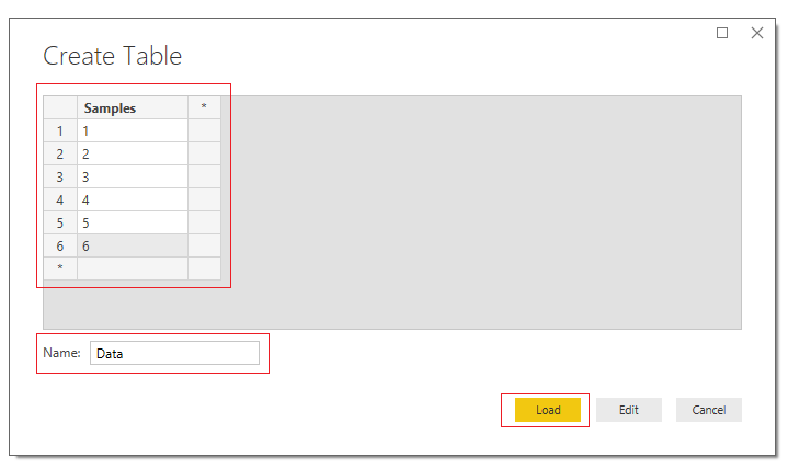Create Table of Data